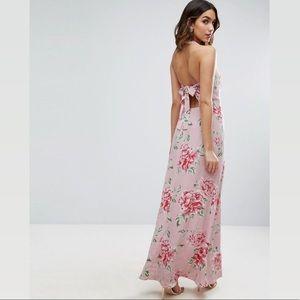 ASOS Pink Multi Floral Halter Back Tie Maxi Dress